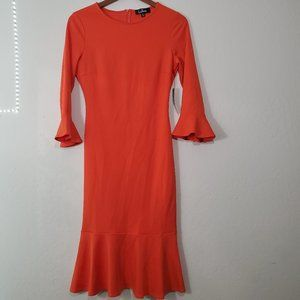 NWT Lulu's Orange Bodycon Dress with Ruffles